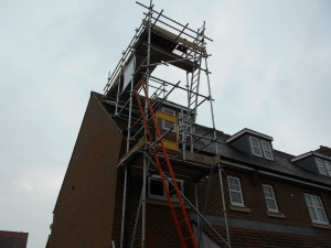 scaffolding up to roof height