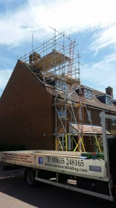 three storey house in scaffolding